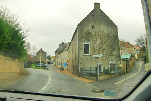 A photo of us driving through the Normandy region of France.