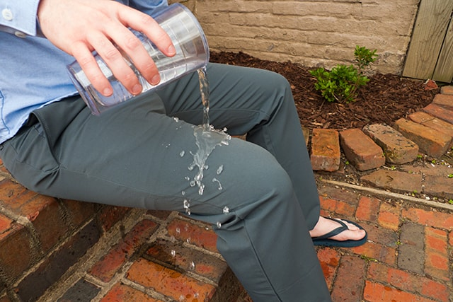 I poured two full glasses of water and the pants are completely dry.
