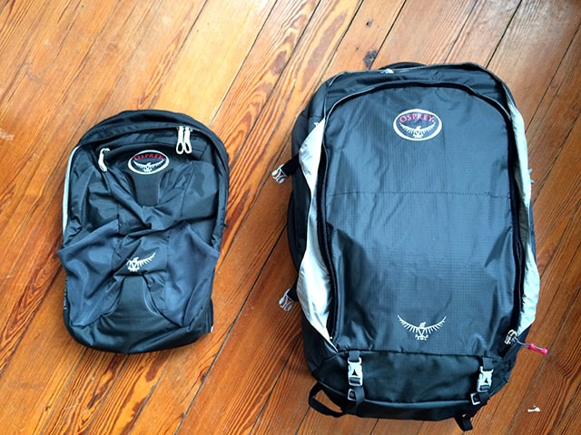 Osprey Farpoint 55 with daypack removed.