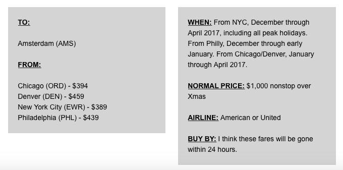 Scott's Cheap Flights Amsterdam