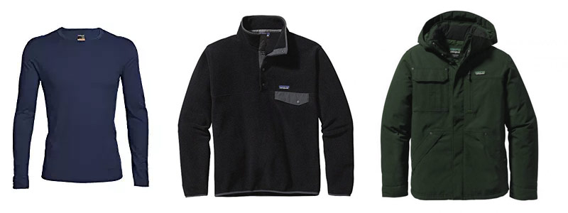 base layer - mid layer - outer layer