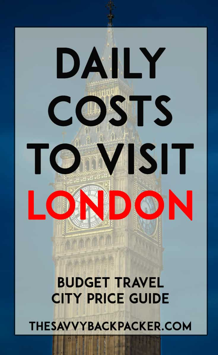 daily costs to visit london city price guide