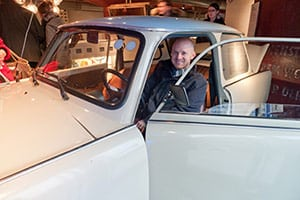 James at the DDR museum checking out an East German Trabant