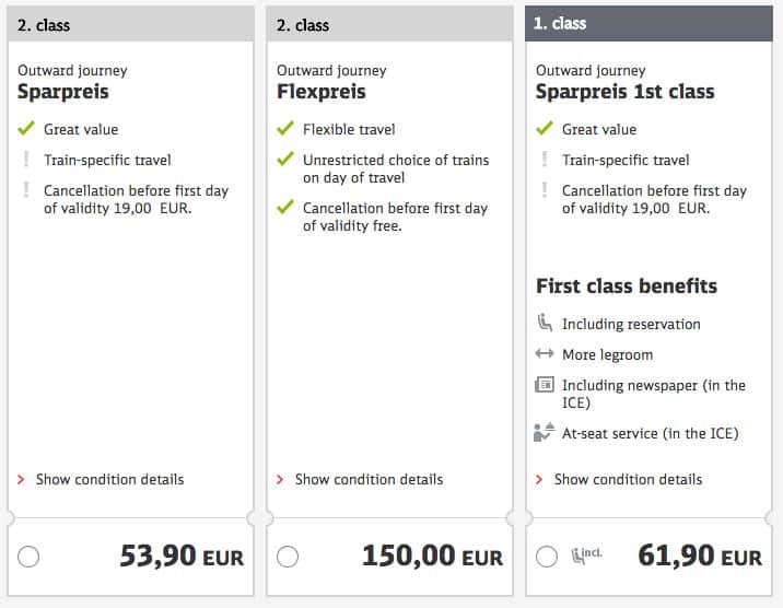 Germany train tickets - types