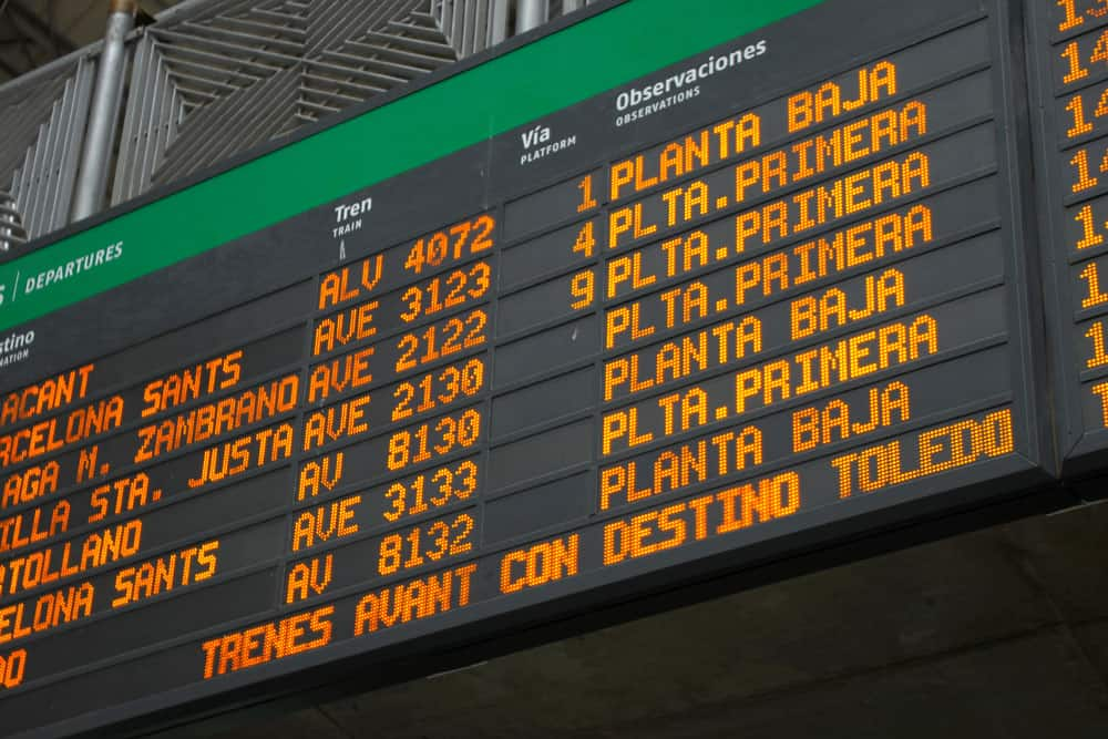 Spain train - departure board