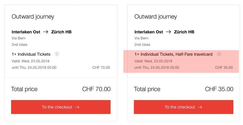 Switzerland train - online booking