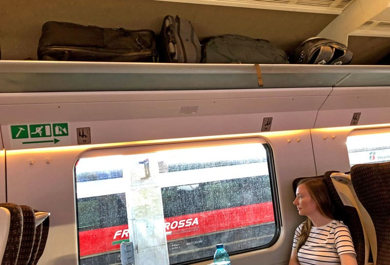 Carry-on backpacks on trains
