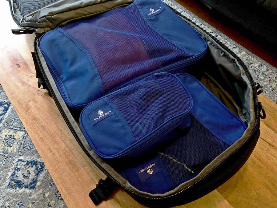 best packing cubes - packed backpack