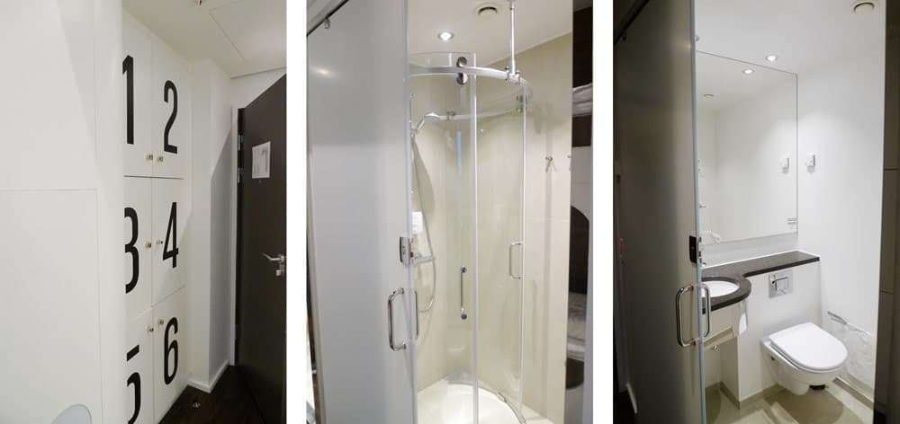Lockers, shower, and bathroom. Steel House Copenhagen