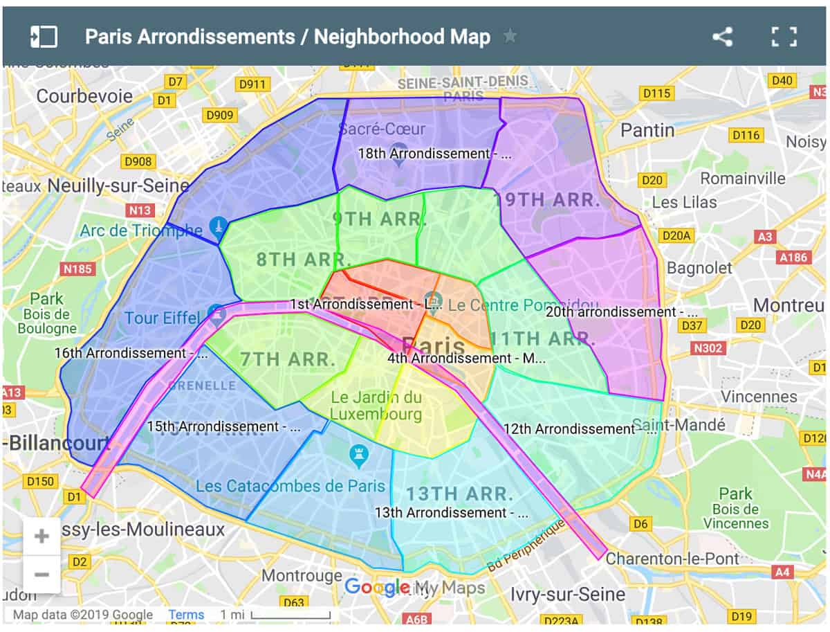 Paris Neighborhood Map