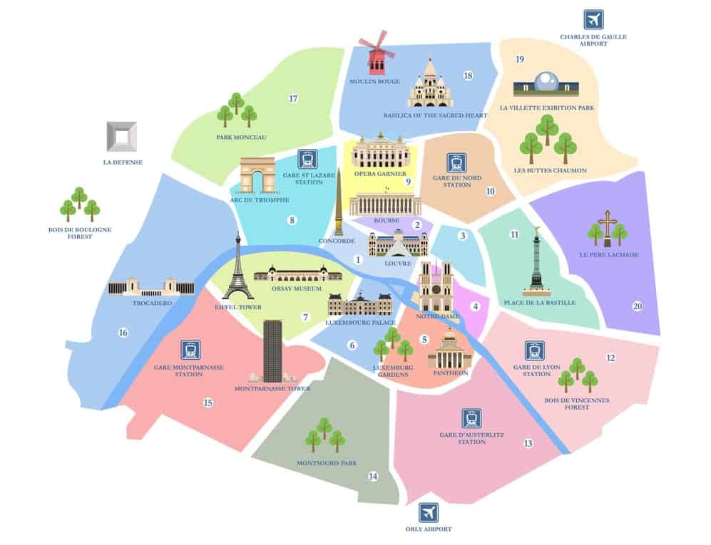 Paris Map Of Sights