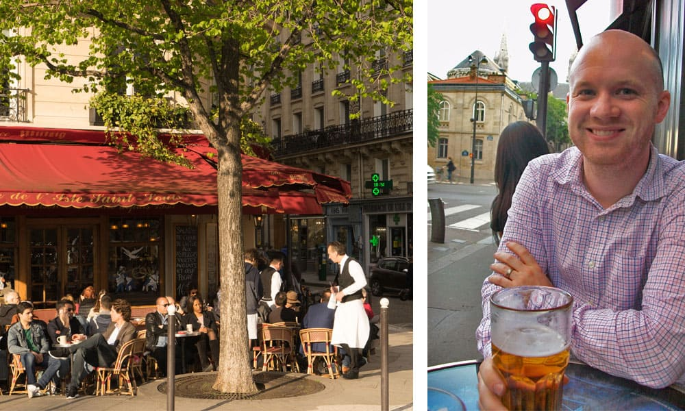 Drinks at a Paris sidewalk cafe