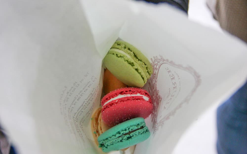 Eating macarons in Paris