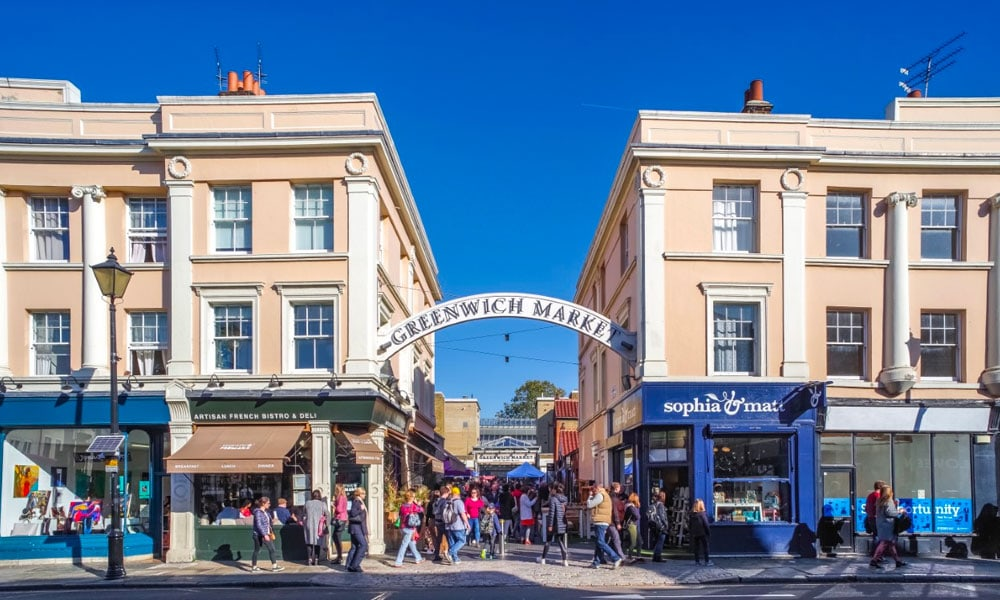 This image has an empty alt attribute; its file name is london-travel-greenwich-market.jpg